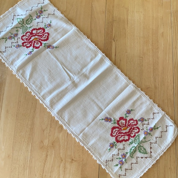 Vintage Handmade Embroidered Table Runner